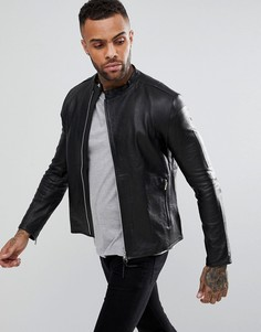 Кожаная куртка без воротника Religion - Черный