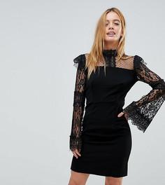 Облегающее платье с кружевом Boohoo Petite - Черный