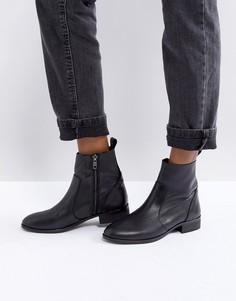 Черные кожаные ботильоны на плоской подошве Office Ashleigh - Черный