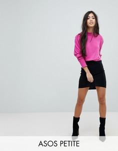 Мини-юбка с асимметричным подолом ASOS PETITE - Черный
