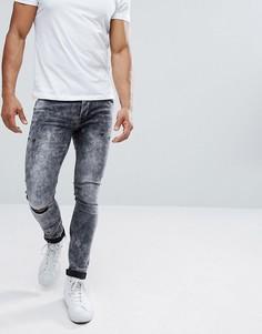 Выбеленные черные джинсы скинни с рваными коленями Only & Sons - Черный