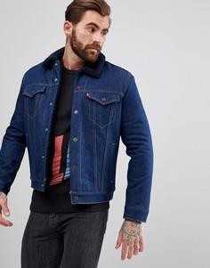 Джинсовая куртка цвета индиго с черным воротником из искусственного меха Levis - Синий Levis®
