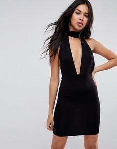 Облегающее платье мини с глубоким вырезом и лямкой через шею ASOS - Черный