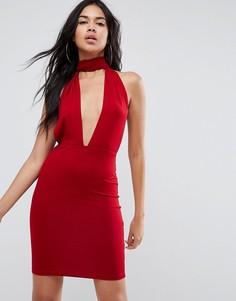 Облегающее платье мини с глубоким вырезом и лямкой через шею ASOS - Красный