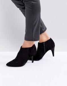 Бархатные ботильоны с острым носком New Look - Черный