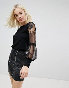 Топ с кружевными рукавами New Look - Черный