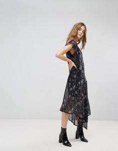 Прозрачное платье с космическим принтом и асимметричным подолом New Look - Темно-синий