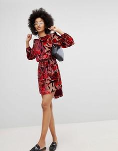 Бархатное платье мини New Look - Красный