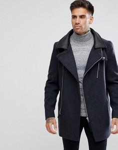 Черное строгое пальто с воротником из искусственной кожи River Island - Черный