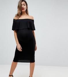 Платье-футляр миди с вырезом лодочкой и оборкой ASOS Maternity - Черный