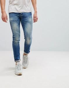 Выбеленные зауженные джинсы River Island - Синий
