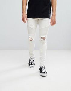 Светло-бежевые байкерские джинсы скинни River Island - Кремовый