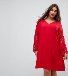 Свободное платье с кружевными рукавами Junarose - Красный