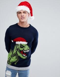 Темно-синий новогодний джемпер с динозавром River Island - Темно-синий