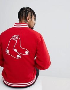 Бомбер с добавлением шерсти и вышивкой на спине New Era Boston Red Sox - Красный
