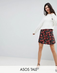 Короткая расклешенная юбка с принтом ASOS TALL - Мульти