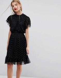 Короткое приталенное платье в горошек с эффектом металлик Y.A.S - Черный