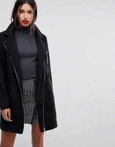 Удлиненное пальто в байкерском стиле Y.A.S - Черный