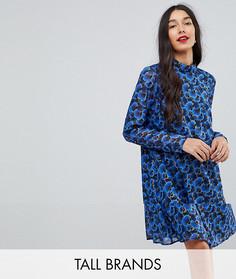 Свободное платье с цветочным принтом Y.A.S Tall - Синий