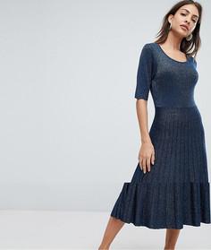 Платье с плиссированной юбкой и блестками Selected Femme - Синий