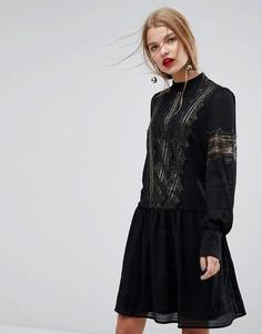 Свободное платье с кружевной отделкой Y.A.S - Черный