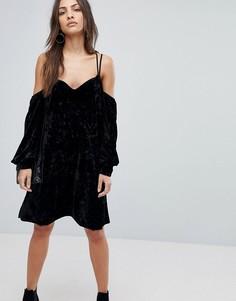 Бархатное платье мини Y.A.S - Черный