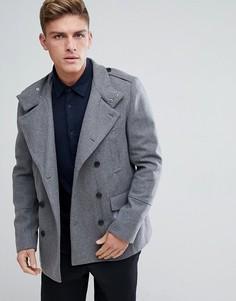 Серое шерстяное пальто в стиле милитари New Look - Серый