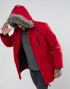 Красная парка с искусственным мехом на капюшоне New Look - Красный