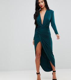 Платье макси с глубоким вырезом и запахом John Zack Petite - Зеленый