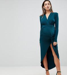 Платье макси с запахом и глубоким вырезом Queen Bee - Зеленый