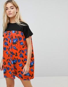 Свободное платье с контрастной юбкой Daisy Street - Мульти