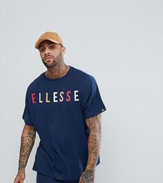 Темно-синяя оверсайз-футболка с большим логотипом на груди Ellesse - Темно-синий