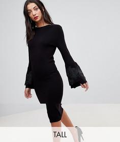 Облегающее платье миди с кружевной аппликацией на рукавах Y.A.S Tall - Черный