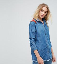 Джинсовая рубашка с цветочной вышивкой Noisy May Tall - Синий