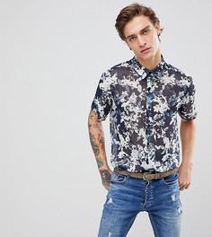 Рубашка классического кроя с короткими рукавами и цветочным принтом Reclaimed Vintage Inspired - Темно-синий