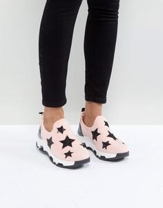 Розовые кроссовки-слипоны с принтом звезд SixtySeven - Розовый