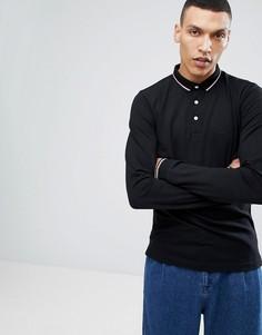 Черная футболка-поло из пике с длинными рукавами Lindbergh - Черный