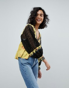 Блузка с принтом Free People - Желтый