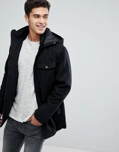 Куртка с капюшоном из шерстяной смеси Brave Soul - Черный