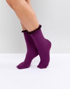 Носки с бархатной отделкой Monki - Фиолетовый