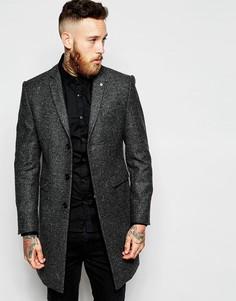Шерстяное пальто в елочку Noose & Monkey - Серый