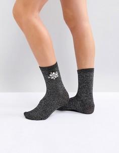 Блестящие носки с брошью River Island - Черный