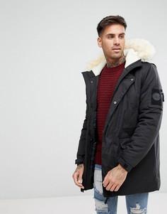 Черное пальто с искусственным мехом River Island - Черный