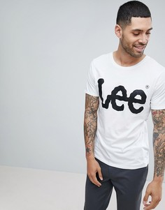Белая футболка с круглым вырезом и принтом-логотипом Lee - Белый