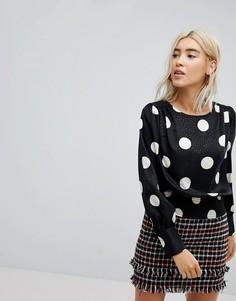 Блузка в горошек в стиле 80-х New Look - Черный