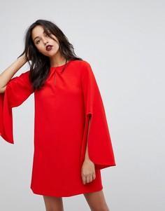 Свободное платье с разрезом на рукавах River Island - Красный