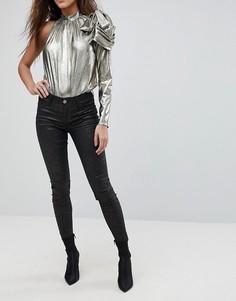 Супероблегающие джинсы с блестками River Island Molly - Черный