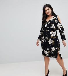 Платье миди с оборками River Island Plus - Черный
