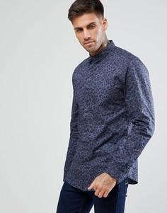 Синяя рубашка классического кроя с леопардовым принтом New Look - Синий