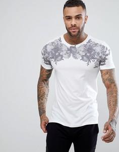 Белая футболка с цветочным принтом New Look - Белый